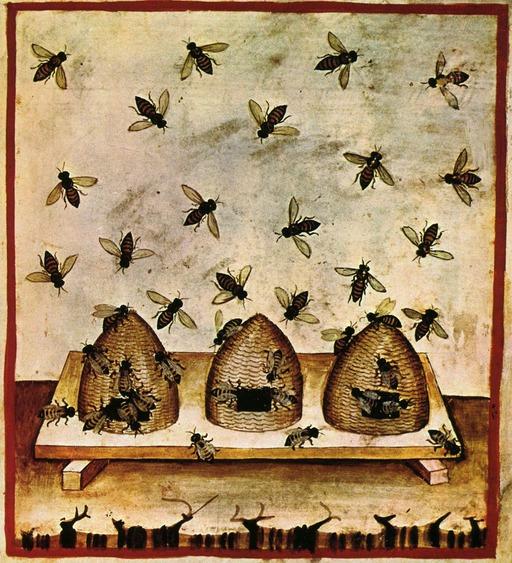Trois ruches médiévales avec abeilles