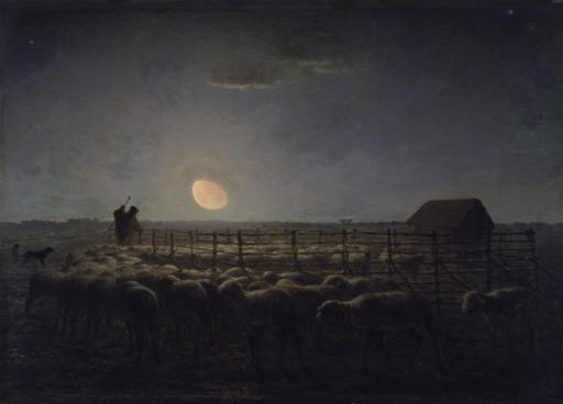 Troupeau de moutons au clair de lune