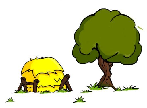 Un chêne et une meule de foin