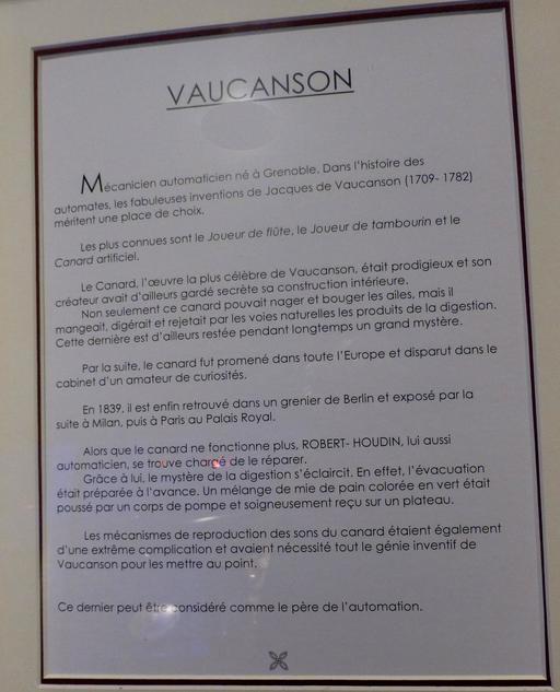 Vaucanson au musée des automates