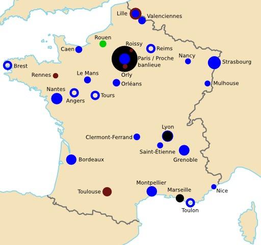 Villes ayant un réseau ferroviaire urbain