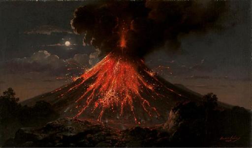 Volcan Merapi en éruption de nuit en 1865