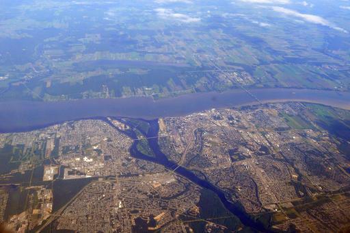 Vue aérienne de Trois-Rivières au Canada