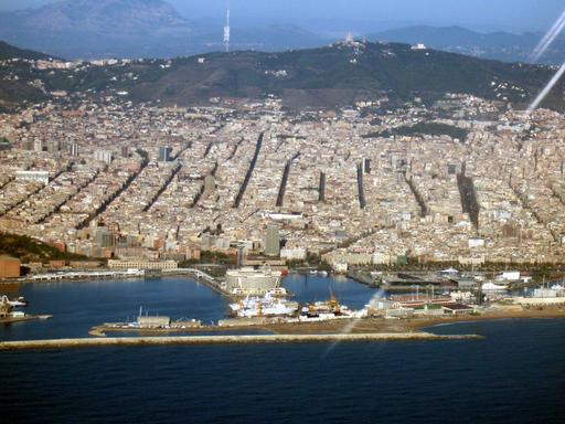 Vue aérienne du plan orthogonal de Barcelone