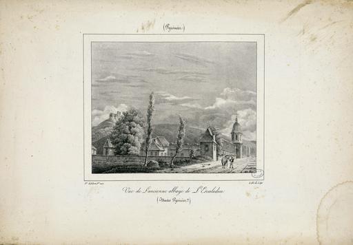 Vue de l'ancienne abbaye de l'Escaladieu en 1827