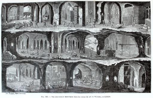 Vue des travaux souterrains dans les mines de sel de Wieliska, en Galicie