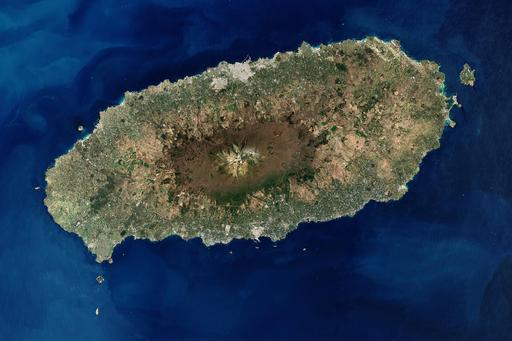 Vue satellite de l'île de Jeju en Corée du Sud