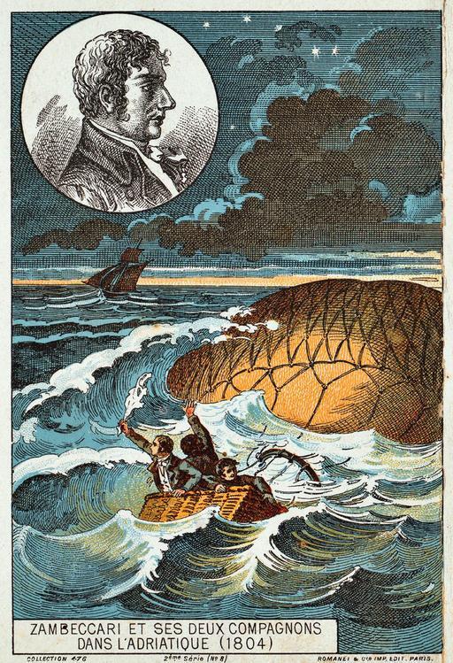Zambeccari et ses deux compagnons dans l'Adriatique en 1804