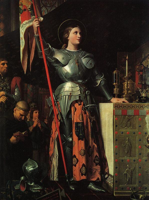 Jeanne d'Arc lors du couronnement de Charles VII à Reims. Tableau de Jean-Auguste-Dominique Ingres.